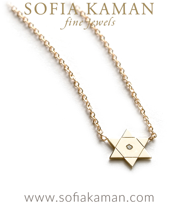 14K Shiny Yellow Gold Diamond Accent Star of David Dainty Charm Necklace Perfect Gift designed by Sofia Kaman handmade in Los Angeles using our SKFJ ethical jewelry process.