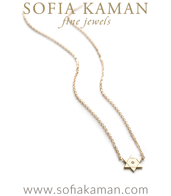 14k Gold Star Of David Charm Necklace By Sofia Kaman