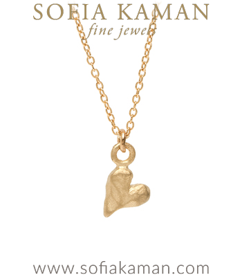 14K Gold Heart Necklace Charm for Girlfriend or Daughter designed by Sofia Kaman handmade in Los Angeles