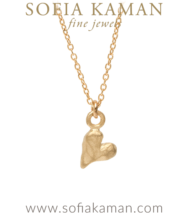 14K Gold Heart Necklace Charm for Girlfriend or Daughter designed by Sofia Kaman handmade in Los Angeles using our SKFJ ethical jewelry process.