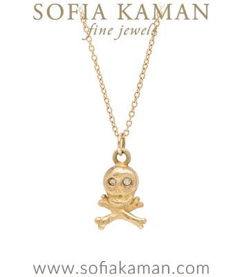 14K Gold Diamond Eyes Skull and Cross Bones Necklace designed by Sofia Kaman handmade in Los Angeles