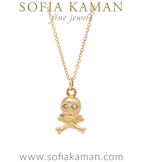 14K Gold Diamond Eyes Skull and Cross Bones Necklace designed by Sofia Kaman handmade in Los Angeles using our SKFJ ethical jewelry process.
