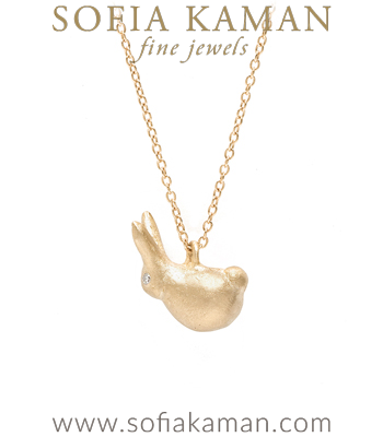 14K Gold Luck Rabbit Charm Necklace designed by Sofia Kaman handmade in Los Angeles