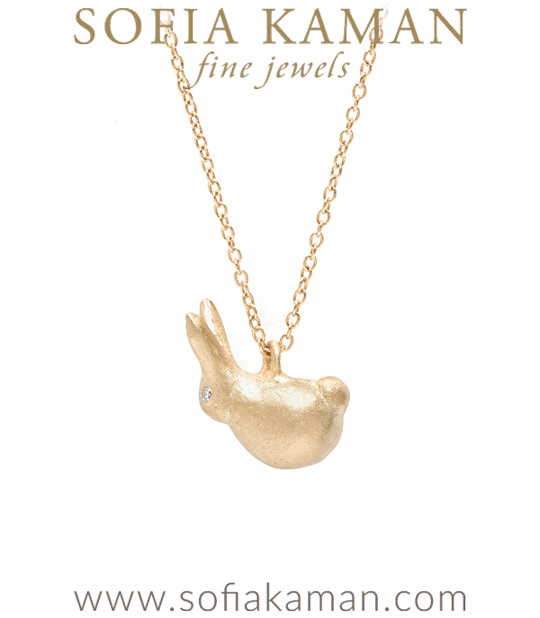14K Gold Luck Rabbit Charm Necklace designed by Sofia Kaman handmade in Los Angeles using our SKFJ ethical jewelry process.