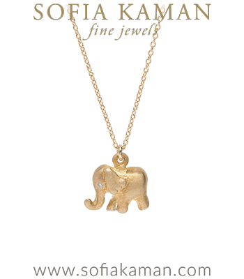 14K Gold Elephant Charm Necklace designed by Sofia Kaman handmade in Los Angeles