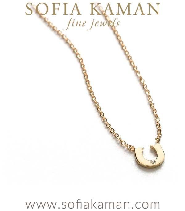 14K Shiny Gold Diamond Accent Horse Shoe Lucky Charm Dainty Necklace Gift Idea designed by Sofia Kaman handmade in Los Angeles using our SKFJ ethical jewelry process.