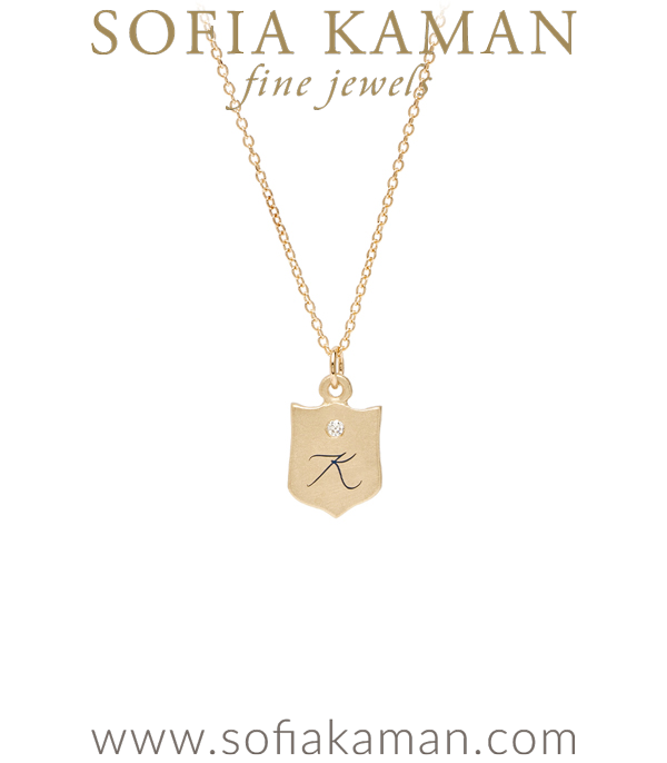 14K Gold Diamond Engraved Enamel Initial Baby Shield Necklace for One of a Kind Engagement Rings designed by Sofia Kaman handmade in Los Angeles using our SKFJ ethical jewelry process.