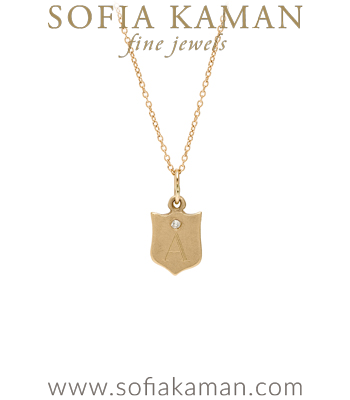 14K Yellow Gold Engravable Shield Necklace with Diamond Perfect Gift for Girlfriend or New Mom designed by Sofia Kaman handmade in Los Angeles