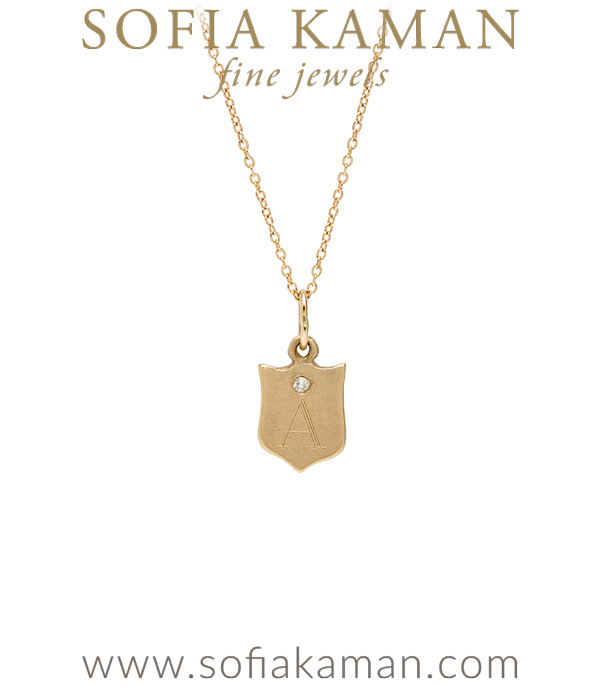 14K Yellow Gold Engravable Shield Necklace with Diamond Perfect Gift for Girlfriend or New Mom designed by Sofia Kaman handmade in Los Angeles using our SKFJ ethical jewelry process.