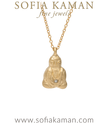 14K Yellow Gold and Diamond Zen Buddha Charm Necklace designed by Sofia Kaman handmade in Los Angeles