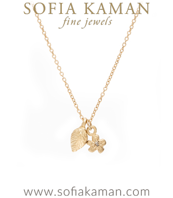 14K Gold and Diamond Leaf and Daisy Flower Charm Necklace designed by Sofia Kaman handmade in Los Angeles