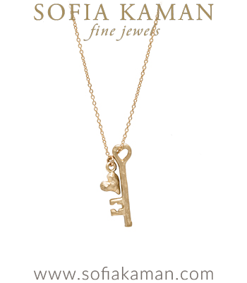 16 Inch 14K Yellow Gold Key and Heart Charm Necklace designed by Sofia Kaman handmade in Los Angeles
