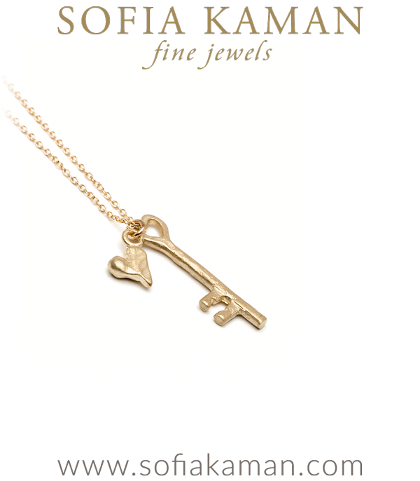 Gold Heart And Key Necklace
