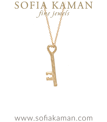 14K Gold Key Charm Necklace designed by Sofia Kaman handmade in Los Angeles
