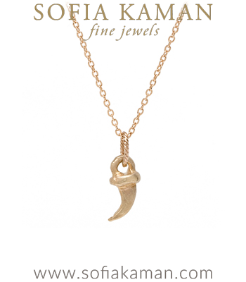 14K Yellow Gold Kitty Cat Claw Necklace designed by Sofia Kaman handmade in Los Angeles