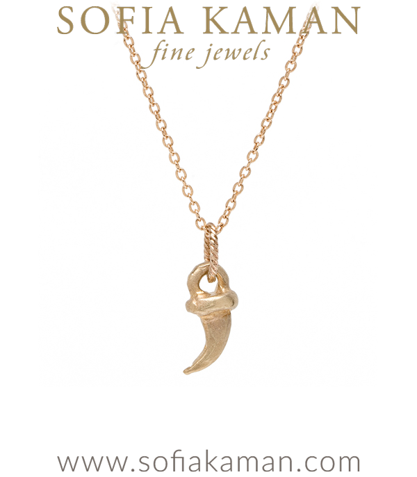 14K Yellow Gold Kitty Cat Claw Necklace designed by Sofia Kaman handmade in Los Angeles using our SKFJ ethical jewelry process.