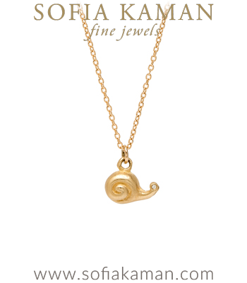 14K Yellow Gold Diamond Eyes Cute Snail Necklace Perfect Gift for Girlfriend or Bridesmaid designed by Sofia Kaman handmade in Los Angeles