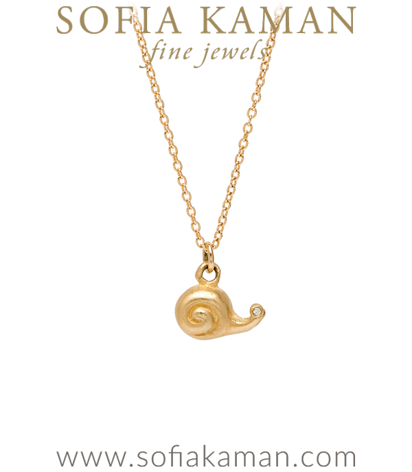 14K Yellow Gold Diamond Eyes Cute Snail Necklace Perfect Gift for Girlfriend or Bridesmaid designed by Sofia Kaman handmade in Los Angeles using our SKFJ ethical jewelry process.