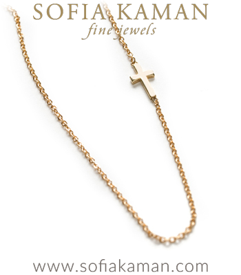 14K Shiny Gold Cross Charm Dainty Necklace Gift Idea designed by Sofia Kaman handmade in Los Angeles