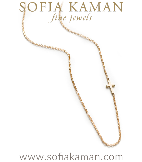 14k Gold Small Cross Dainty Chain Necklace