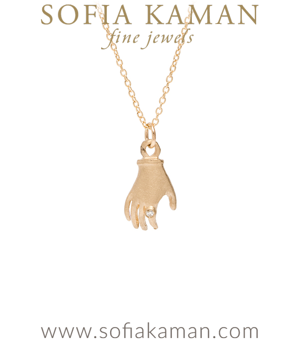 14K Yellow Gold Diamond Vintage Style Hand Perfect Gift for BFF or Bridesmaid designed by Sofia Kaman handmade in Los Angeles using our SKFJ ethical jewelry process.
