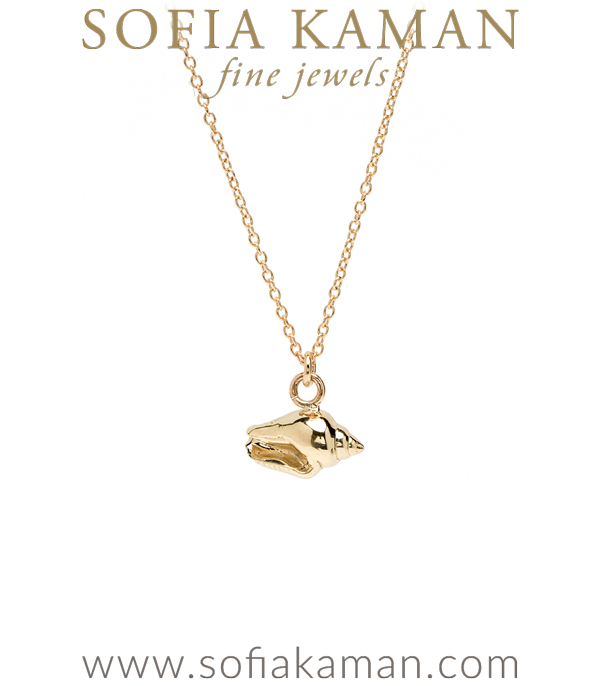 14K Yellow Gold Shell Charm Necklace Perfect for Girlfriend Daughter or Mom designed by Sofia Kaman handmade in Los Angeles using our SKFJ ethical jewelry process.