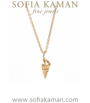 14K Yellow Gold Spiral Sea Shell Charm Necklace designed by Sofia Kaman handmade in Los Angeles
