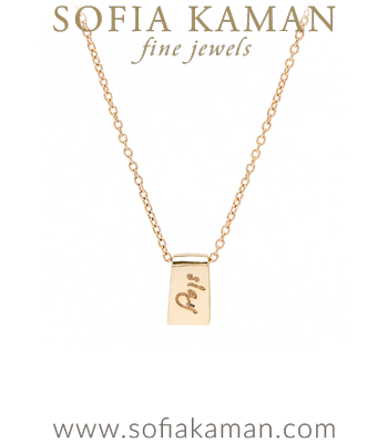 14K Yellow Gold Tiny Tag Engravable Charm Necklace Perfect for Girlfriend and BFF designed by Sofia Kaman handmade in Los Angeles