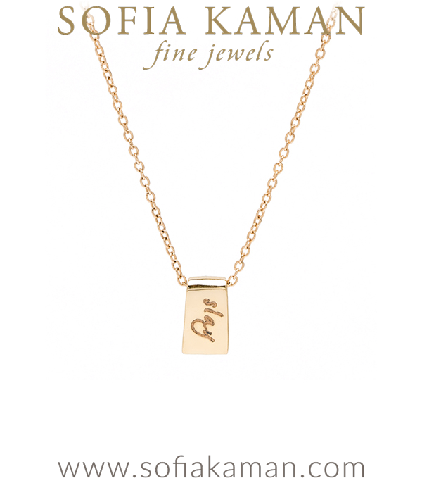 14K Yellow Gold Tiny Tag Engravable Charm Necklace Perfect for Girlfriend and BFF designed by Sofia Kaman handmade in Los Angeles using our SKFJ ethical jewelry process.