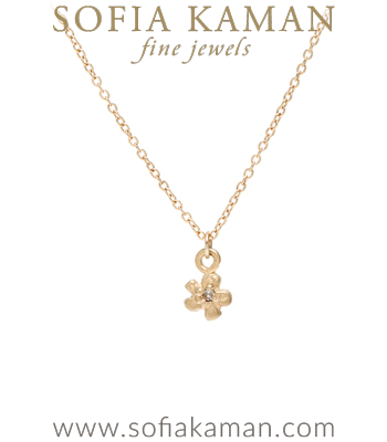 14K Yellow Gold and Diamond Tiny Daisy Charm Necklace Perfect for Girlfriend or Graduation Gift designed by Sofia Kaman handmade in Los Angeles