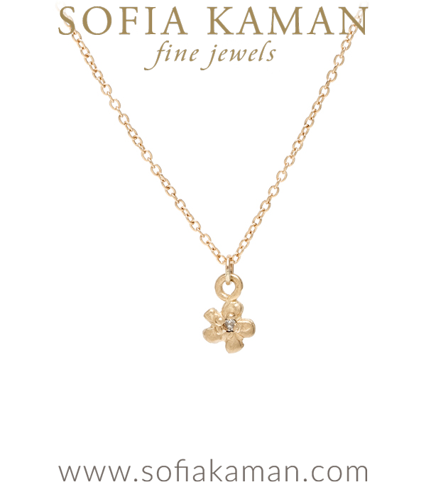 14K Yellow Gold and Diamond Tiny Daisy Charm Necklace Perfect for Girlfriend or Graduation Gift designed by Sofia Kaman handmade in Los Angeles using our SKFJ ethical jewelry process.