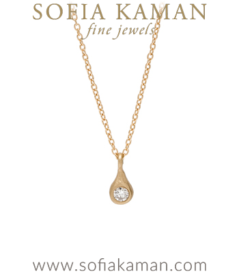 14K Yellow Gold Diamond Tear Drop Necklace Perfect Gift for Girlfriend and Mom designed by Sofia Kaman handmade in Los Angeles