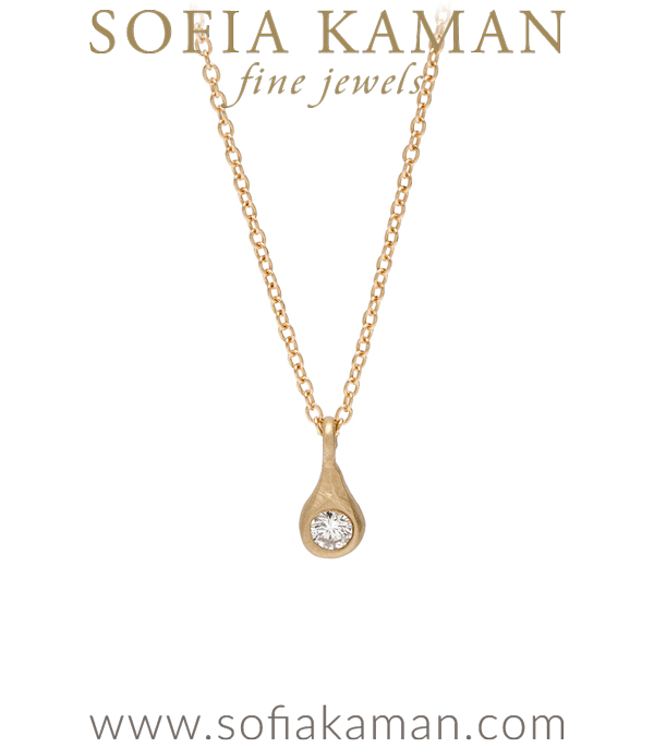14K Yellow Gold Diamond Tear Drop Necklace Perfect Gift for Girlfriend and Mom designed by Sofia Kaman handmade in Los Angeles using our SKFJ ethical jewelry process.
