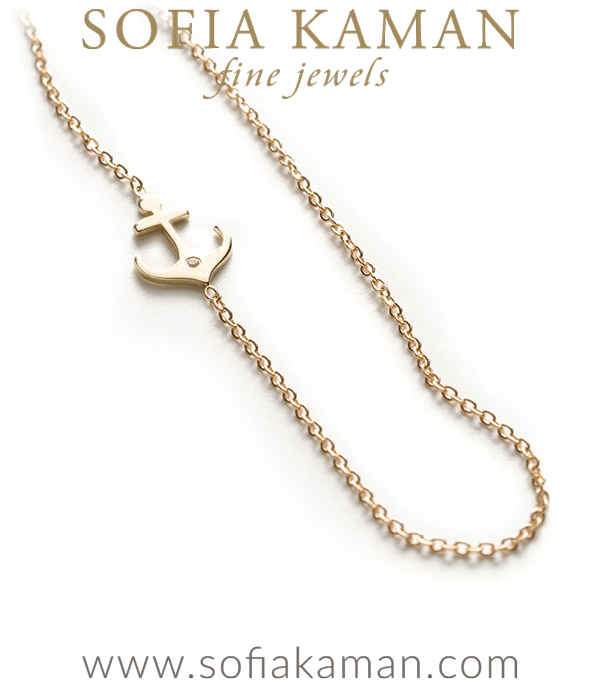 14k Shiny Yellow Gold Nautical Diamond Accent Anchor Charm Necklace Gift Idea designed by Sofia Kaman handmade in Los Angeles using our SKFJ ethical jewelry process.