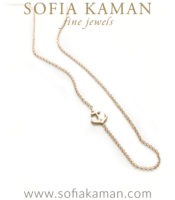 14k Gold Small Nautical Charm Anchor Necklace
