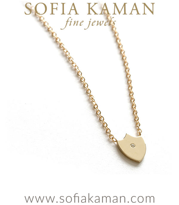 14k Gold Diamond Accent Shield Mini Charm Necklace