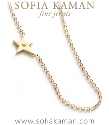 14K Yellow Shiny Gold Diamond Accent Tiny Shooting Star Charm Necklace Gift Idea designed by Sofia Kaman handmade in Los Angeles