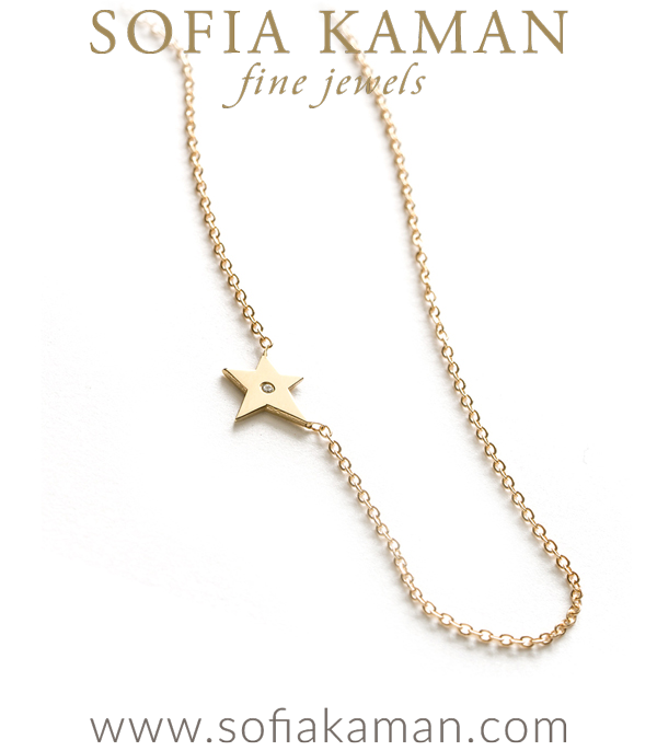 14k Gold Diamond Accent Dainty Star Charm Necklace