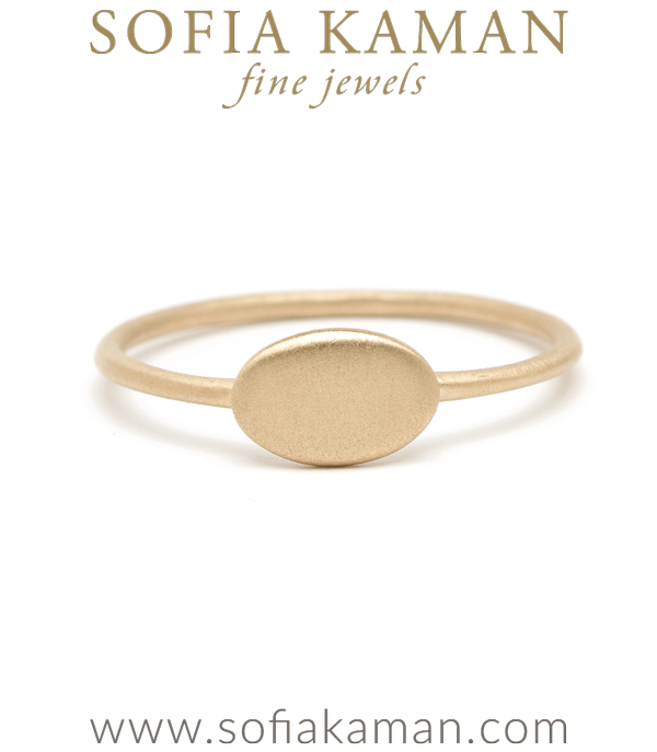 14K Yellow Gold Small Oval Engravable Signet Ring Perfect Gift for Girlfriend or Daughter designed by Sofia Kaman handmade in Los Angeles using our SKFJ ethical jewelry process.