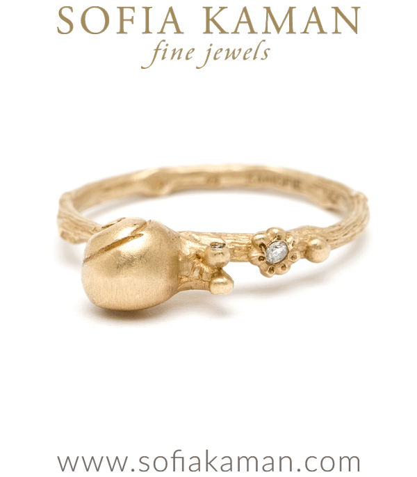14K Gold and Diamond Cute Garden Snail Boho Stacking Ring designed by Sofia Kaman handmade in Los Angeles using our SKFJ ethical jewelry process.