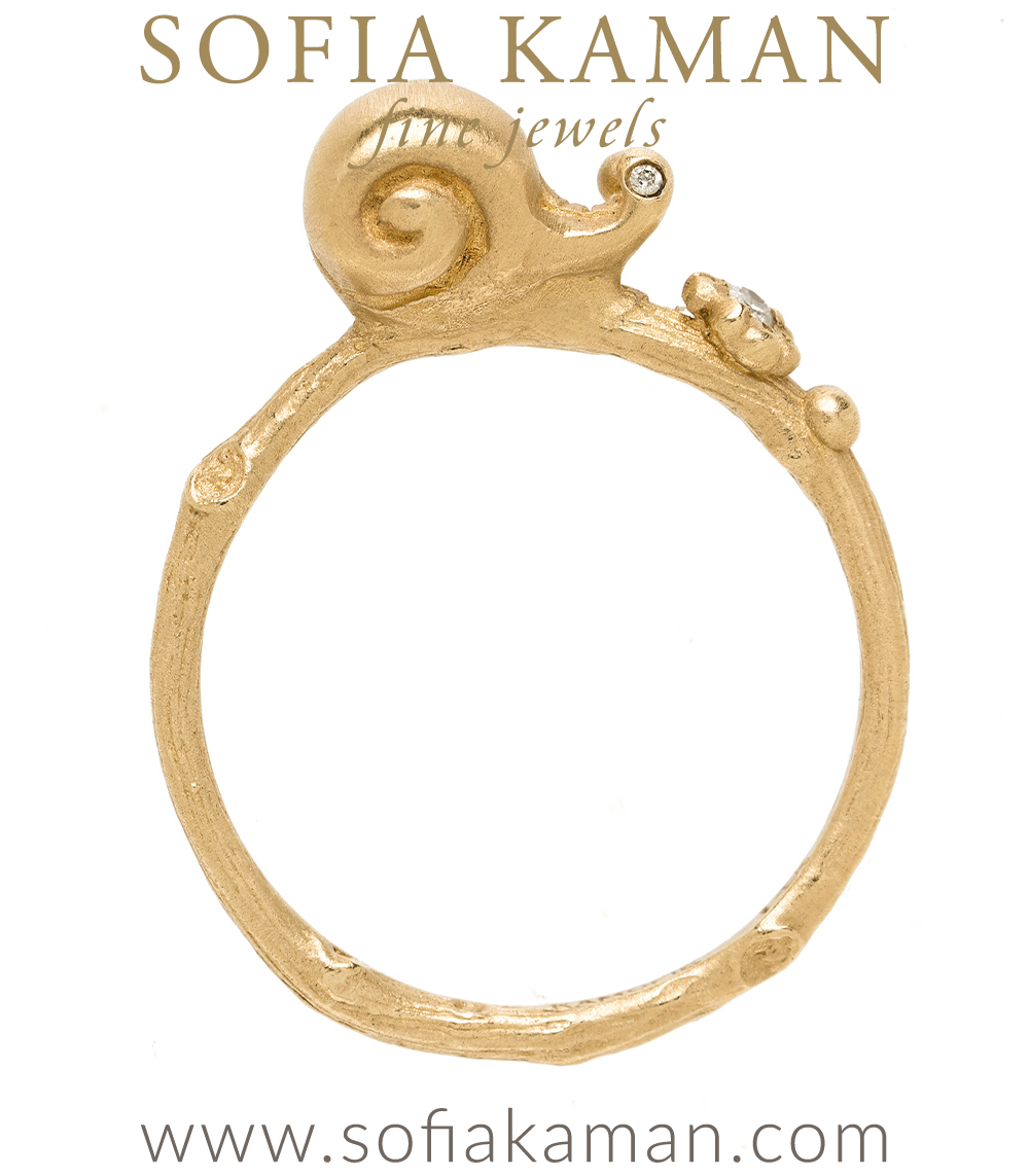 Sofia Kaman Cute Garden Snail Charm Ring
