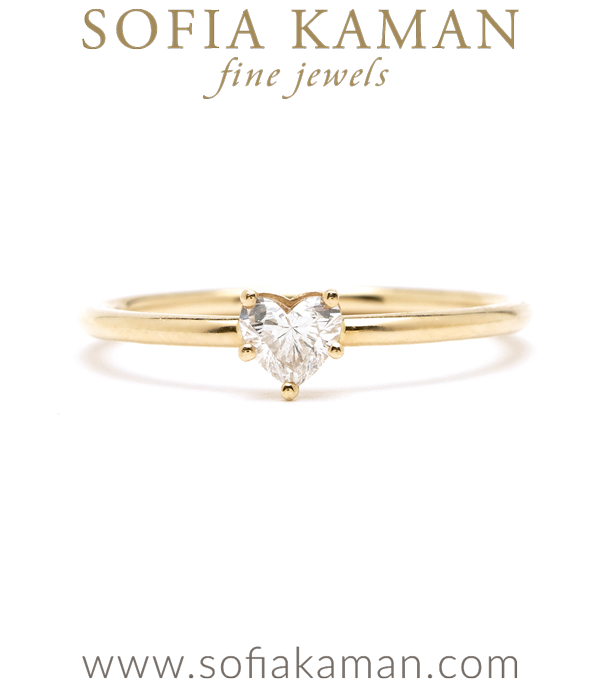Petite Gold and Diamond Heart Stacking Ring Perfect for a Girlfriend designed by Sofia Kaman handmade in Los Angeles using our SKFJ ethical jewelry process.