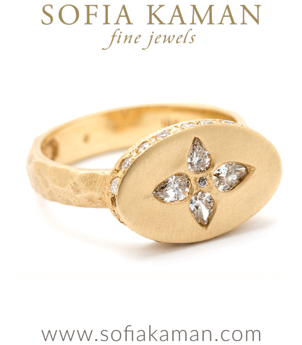 Matte Gold Hammered Organic Texture Pear Shape Diamond Signet Bohemian Engagement Ring designed by Sofia Kaman handmade in Los Angeles using our SKFJ ethical jewelry process.