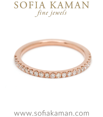 Half Set Diamond Stacking Ring Bohemian Eternity Wedding Band designed by Sofia Kaman handmade in Los Angeles