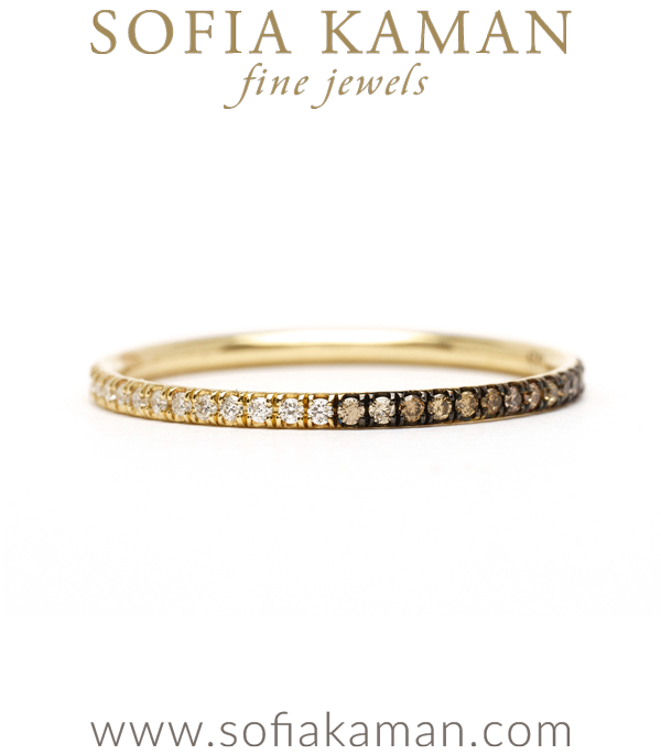 Light and Dark Diamond Eternity Band Perfect for One of a Kind Engagement Rings designed by Sofia Kaman handmade in Los Angeles using our SKFJ ethical jewelry process.