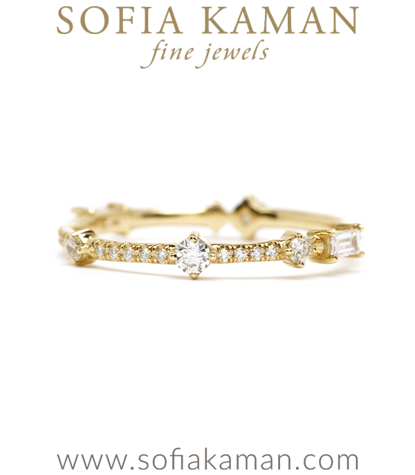 Unique Diamond Eternity Band Perfect for One of a Kind Engagement Rings designed by Sofia Kaman handmade in Los Angeles using our SKFJ ethical jewelry process.