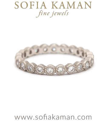 Rose Cut Diamond Bezel Set Boho Eternity Stacking Ring Bohemian Wedding Band designed by Sofia Kaman handmade in Los Angeles
