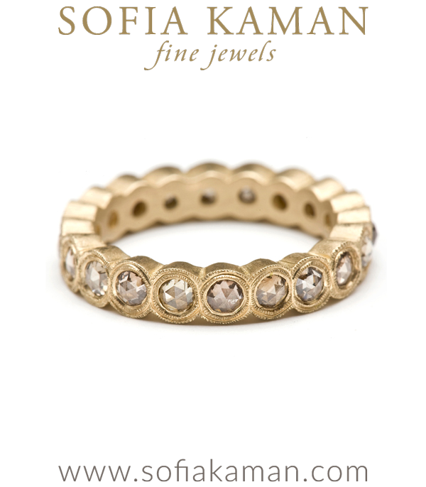 Rose Cut Champagne Diamond Bezel Set Boho Stacking Ring Bohemian Wedding Band designed by Sofia Kaman handmade in Los Angeles using our SKFJ ethical jewelry process.