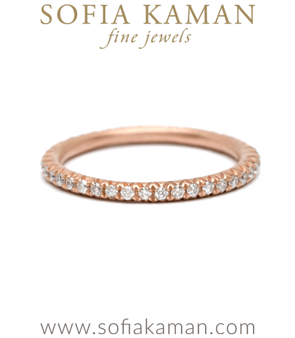Pave Diamond Boho Stacking Ring Bohemian Eternity Wedding Band designed by Sofia Kaman handmade in Los Angeles using our SKFJ ethical jewelry process.