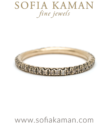 Pave Champagne Diamond Boho Stacking Ring Bohemian Eternity Wedding Band designed by Sofia Kaman handmade in Los Angeles